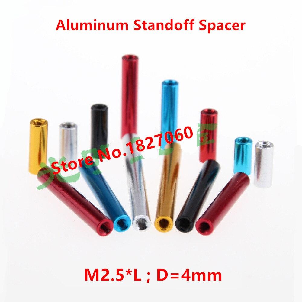 10pcs M2.5 Aluminum Spacers M2.5*6-40mm Aluminum Round standoff spacer studs long nut alu spacing screw Red Black Color(China)