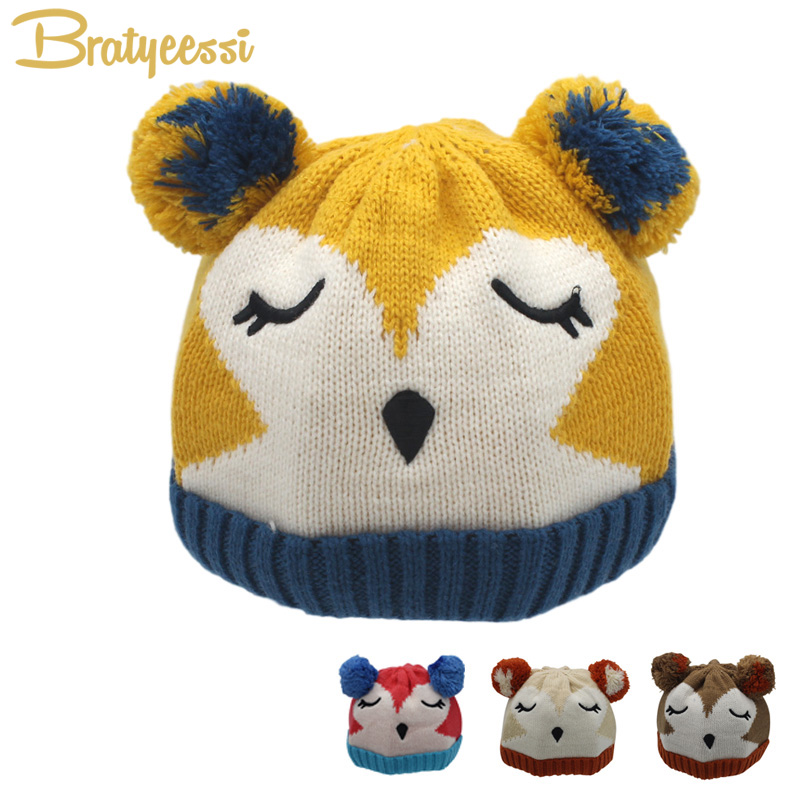 New Cute Baby Winter Hat with Pompom Cartoon Plush Lining Knitted Infant Baby Beanie Cap for 4-24 Months 1 PC