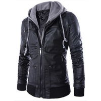 PU Leather Jacket Men Turn down Collar With Hooded Jaqueta De Couro Masculina PU Mens Faux Fur Coats Motorcycle