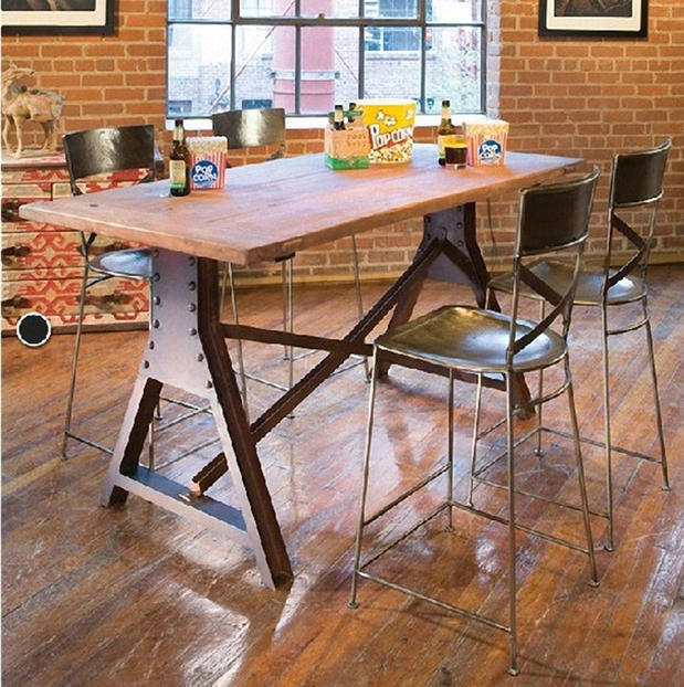 American Do The Old Loft Style Pine Furniture Wrought Iron Wood Bar Tables And Chairs Restaurant Dining Table In From On