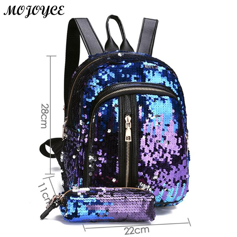2pcs/1pc New Sequins Backpack New Teenage Girls Fashion Bling Rucksack Students School Bag With Pencil Case Clutch Mochilas #6