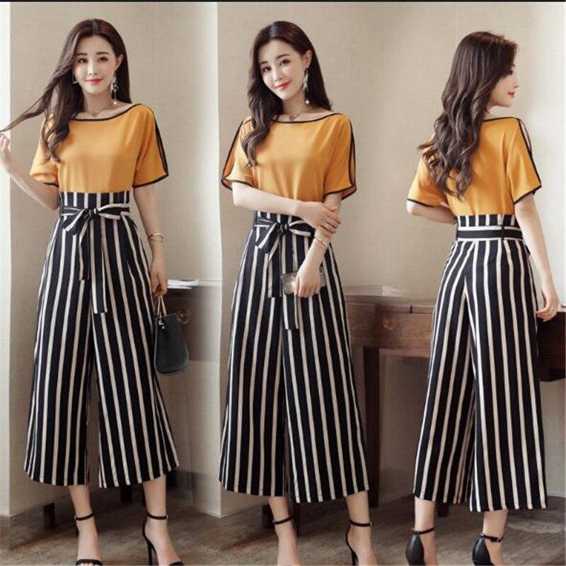 High Quality Women 2 Piece Striped Pant Set 2018 Summer Fashion Short Sleeve Blouse Tops / Ankle-Length Pants Suit Female K0240 3