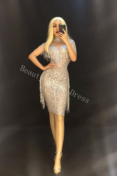 Sparkly Rhinestones Mesh See Through Dress Women Fashion Birthday Dresses Stage Female Singer Show Festival Party Outfit DJ DS