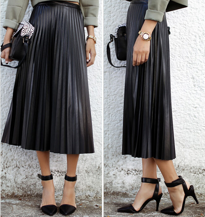 Aliexpress.com : Buy 2017 Spring Women Long Leather Skirt Pleated ...