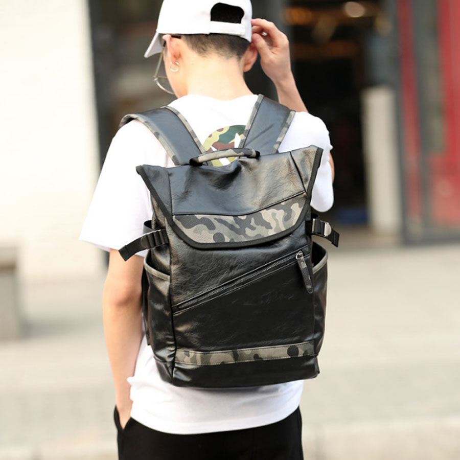High Quality Fashion Simple Patchwork Large Capacity Leather Camouflage For Travel Casual Men Daypacks Travle Backpack