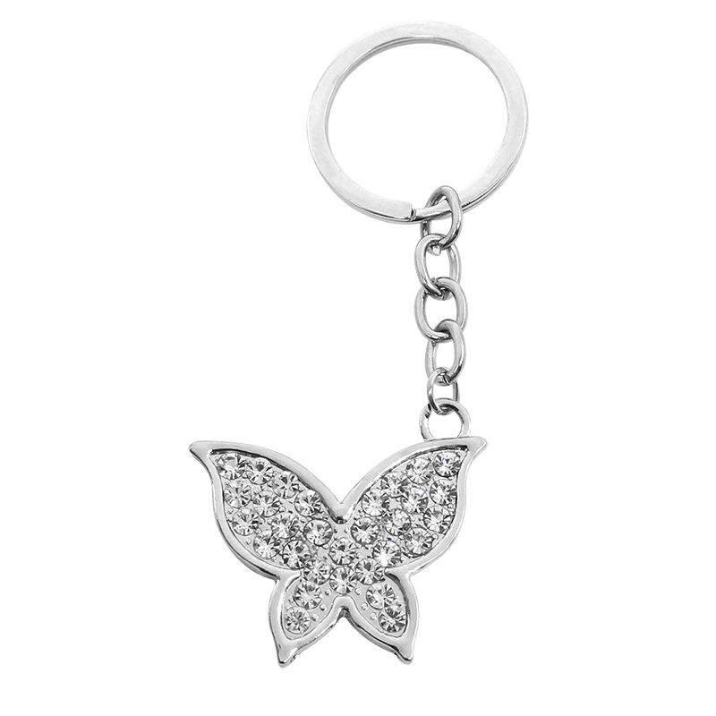 Trendy Insect Key Chains Full White Rhinestone Butterfly Keychain For Women Silver Metal Key Chain Jewelry Gifts Drop Shipping