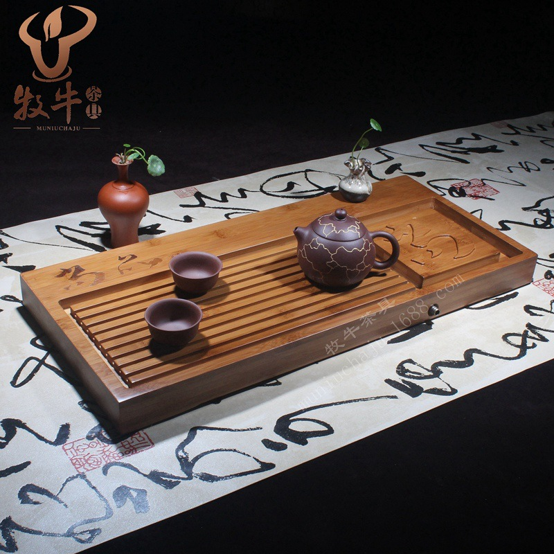 Yixing Kung Fu tea set bamboo tea tray Luxuries gift LOGO custom 54*24.5*4 store mixed batch 100% bamboo kung fu tea set bamboo tea tray bamboo tea saucer large sea water type tea table storage tray trumpet