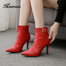 MAIERNISI women boot high heel strap fashion red Plus size sexy winter ladies boots PU Leather shoes