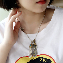 925 Sterling Silver Pendant Feather Charm Punk Link Thai Silver Eagle Chain For Men And Women Fine Gift 2005 starfield s925 sterling silver retro thai silver vintage style takahashi goro feather eagle necklace men women sweater chain set