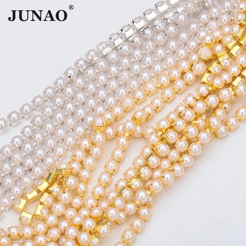 Junao 10 jardas ss6 ss12 ss16 costura branco pérola strass corrente fita prata ouro metal guarnição fita strass applique artesanato
