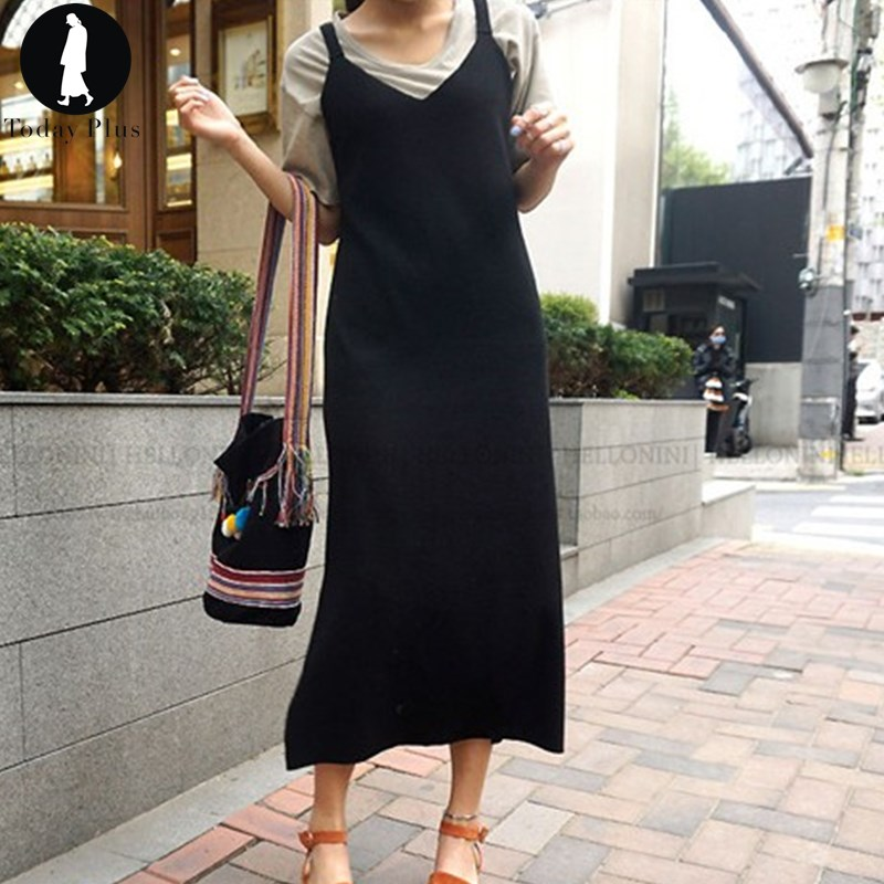 Today Plus New Fashion Women font b Dresses b font Summer Sleeveless Solid Straight Spaghetti Strap
