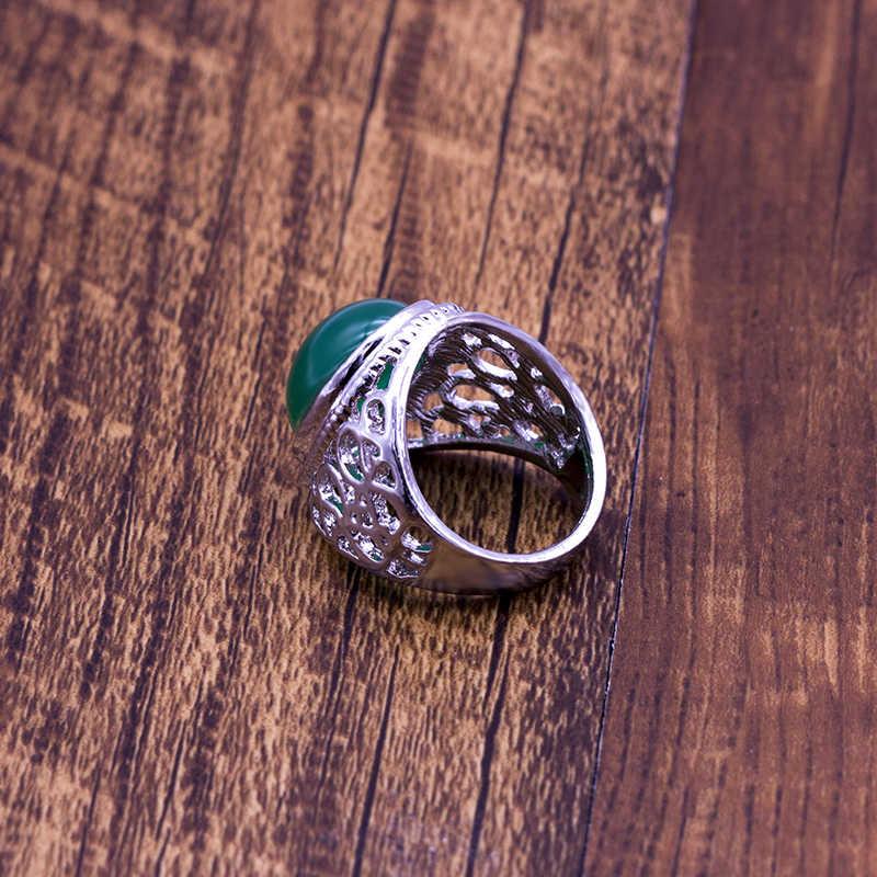 สีเขียวขนาดใหญ่รูปไข่แหวนผู้หญิง Retro Hollow แกะสลักขายส่งเครื่องประดับ Vintage Silver Plated Hollow แหวน Dropshopping
