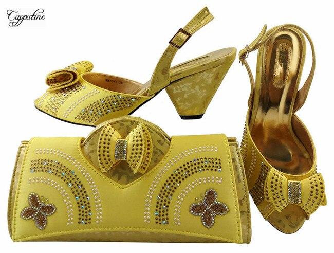 Наиболее модные золотые дизайн сандалии обувь и сумки набор для вечерние mm1041, высота каблука 7.5 см