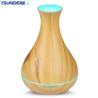 TSUNDERE L 400ml Ultrasonic Wood Grain Aromatherapy Diffuser 7 Color LED Lights And Waterless Auto Shut