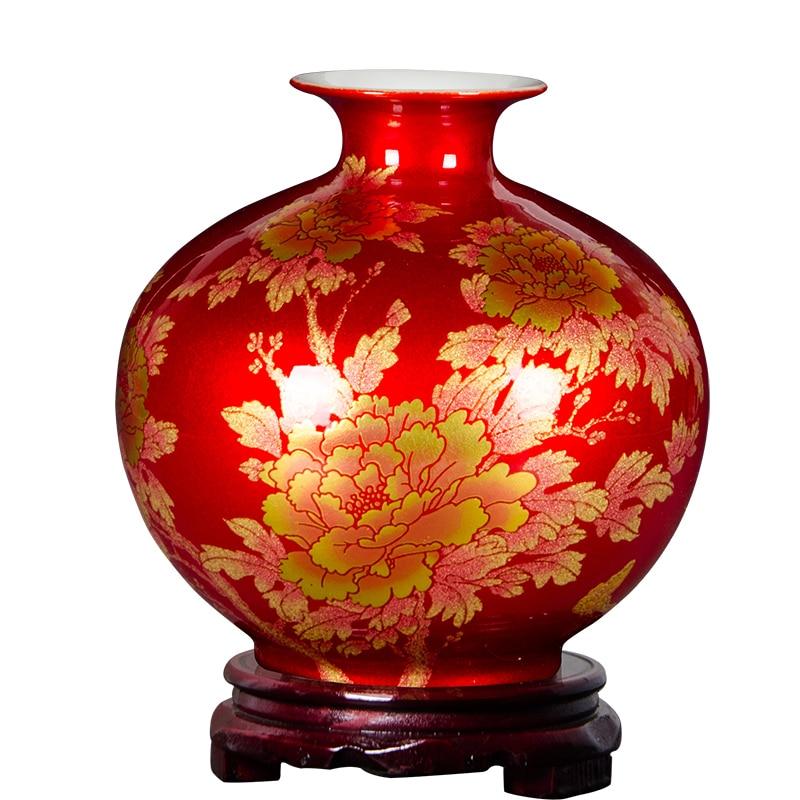 Classique Chinois Antique Vase à Fleur En Céramique Cristal Glaçure Vases Home Office Décor Vase En Porcelaine Pour Le Nouvel An Cadeau