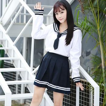 d353a477e Los estudiantes uniforme JK Cosplay camisa falda corbata de la escuela  negro blanco traje de marinero Collar manga larga