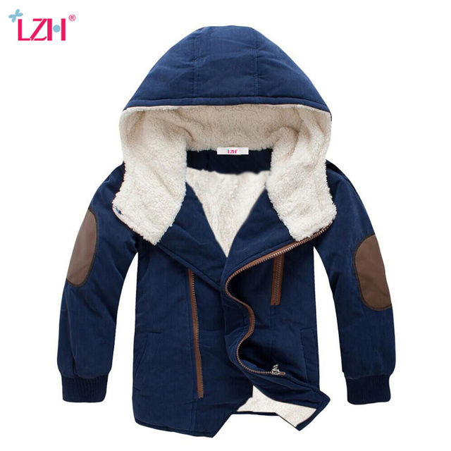 LZH 2017 Autumn Winter Jacket For Boys Jacket Kids Warm Hooded Wool Outerwear Coats Children Jacket Teenage Boys Clothes 12 Year