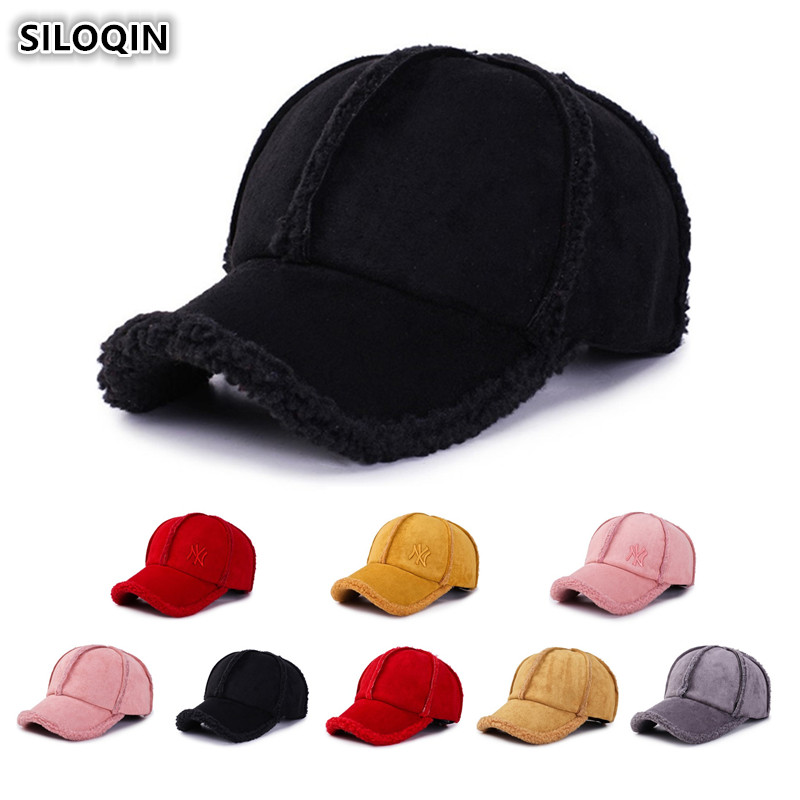 SILOQIN Women's Ponytail   Baseball     Caps   New Style Winter Thick Warm Hat For Men Women Adjustable Size Men's Snapback Tongue   Cap