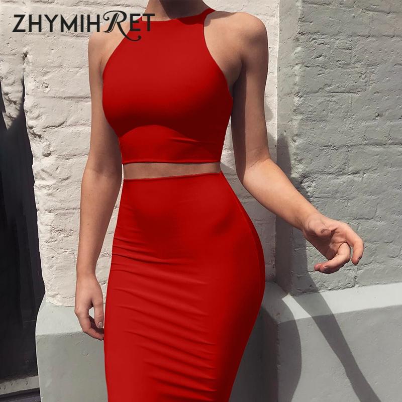 ZHYMIHRET 2020 Sexy Summer Two Piece set dress Crop Tops sheath set Mini bandage Dress Sleeveless party Vestidos robe femme ete