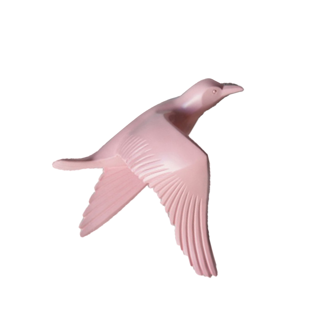 5pcs Nautical Resin 3D Birds Wall Art Murals Flying Seagull Sculpture Bedroom Wall Stickers DIY Home Hotel Decor Pink