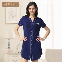 روب للنوم روب استحمام Qianxiu عالية الجودة زر النوم قميص المرأة عارضة قصيرة الأكمام زوجين Homewear البشكير 1635