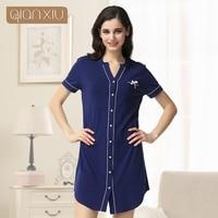 Qianxiu High Grade Quality Women Button Sleep Shirt Women Casual Short  Sleeve Couple Red Blue Homewear 51022d0d9