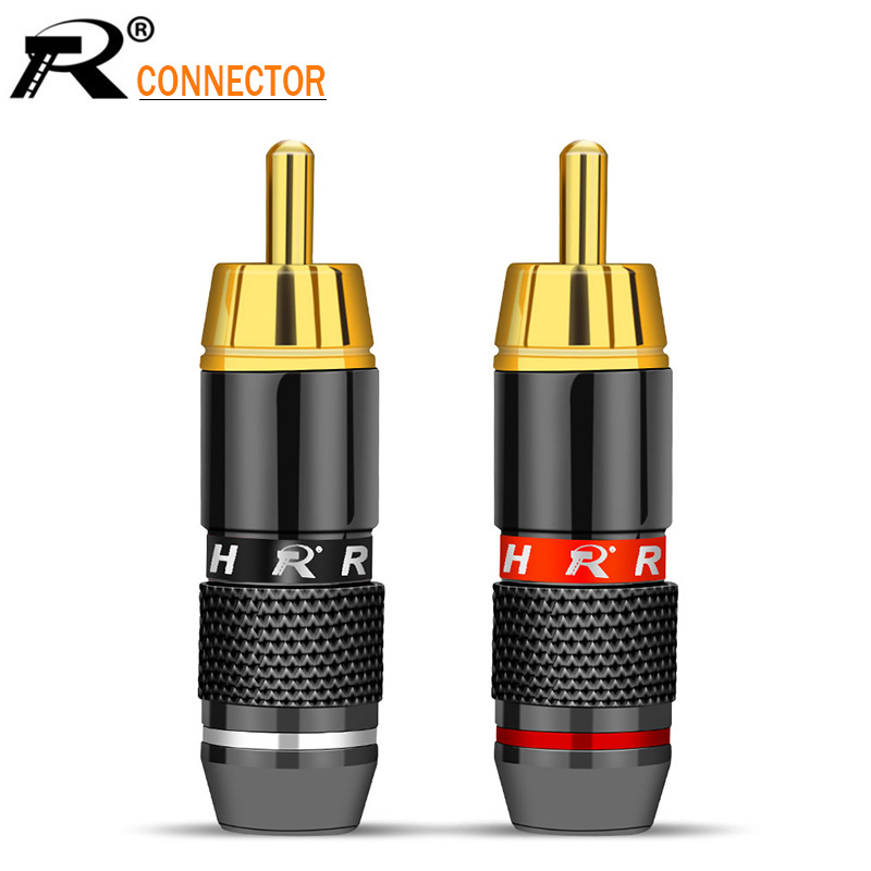 100pcs High Quality black&red Gold Plated RCA Connector RCA male plug adapter Video/Audio Connector Support 6mm Cable