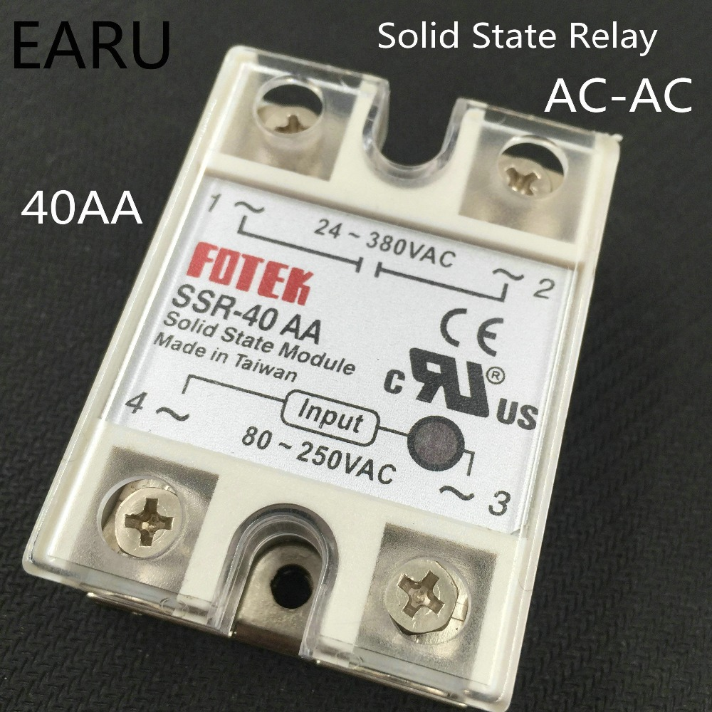 1 pcs SSR-40AA 40A Single Phase Solid State Relay Input 80-250V AC Output 24-380V AC good quality SSR-40 AA Factory Wholesale free shipping ac to ac solid state relay hpr 40aa 40a 80 250v 24 380v ac aluminium heat sink