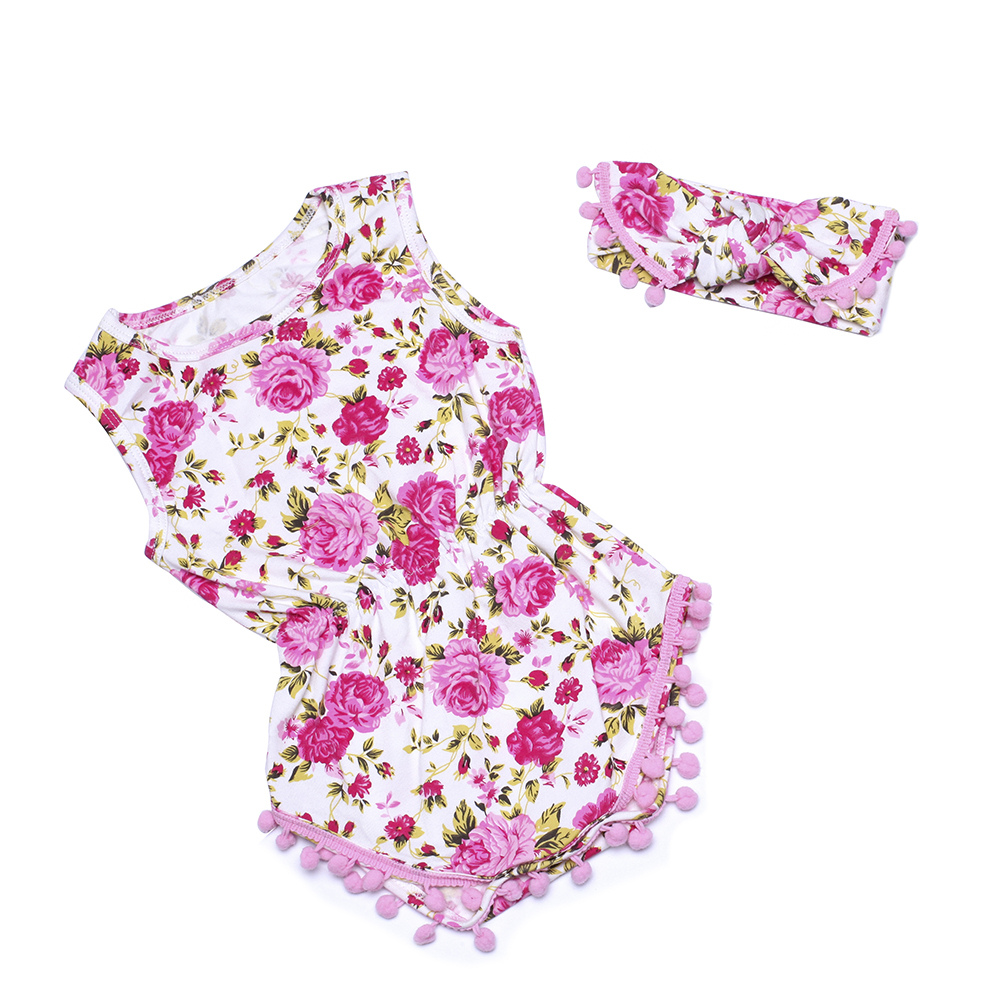 Pom Pom Romper headband,Floral Baby Sunsuit,Baby Girl Outfit,Boho Chic pink floral Romper,1st Birthday Shabby Chic Romper