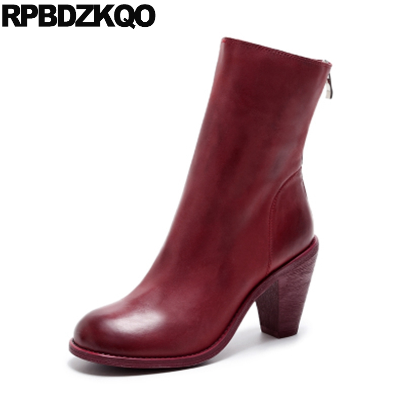 Brand Real Leather British High Heel Red Autumn Women Ankle Boots 2016 Round Toe Zipper Vintage Shoes White Short Chunky Block vintage classic block chunky high heel