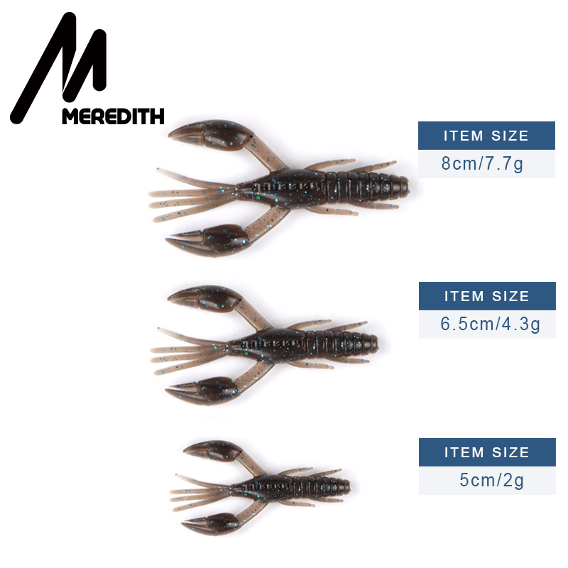 MEREDITH 50mm 65mm 80mm DoliveCraw Fishing Lures Craws Shrimp Soft Lure Fishing Bait Wobblers Bass Lures Soft Silicone in Fishing Lures from Sports Entertainment