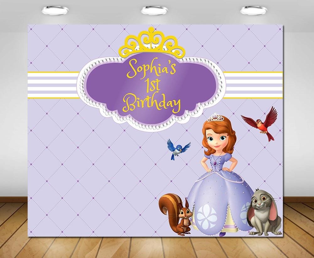 custom princess sofia first birthday striped purple photo