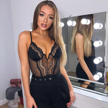 Cryptographic deep V fashion lace sexy bodysuit  2