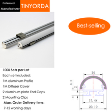 Tinyorda 1000Pcs (1M Length) Led Alu Profile  Channel Profil for 14mm LED Strip Light 1M channel