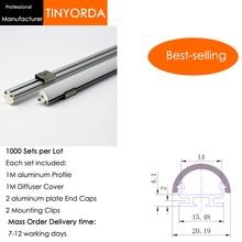 цена на Tinyorda 1000Pcs (1M Length) Led Alu Profile  Led Channel Profil for 14mm LED Strip Light 1M LED Profile Alu Profile channel
