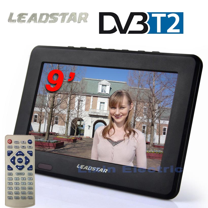 LEADSTAR HD TV  9 inch DVB-T2 DVB-T Digital And Analog Mini Led HD Portable TV All in 1 Support USB record Television program mini hd dvb t2 terrestrial digital tv receiver support 3d black