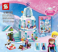 314pcs SY373 Girl Friends Elsa's Sparkling Ice Castle Anna Elsa Queen Olaf Building Blocks Toys Compatible Lepin Friends