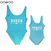 2dc901f3132 Mother and Daughter Children Queen Princess Letter Print One Piece Swimsuit  Mommy Babe Swimwear Mom Kid Bathing Suits