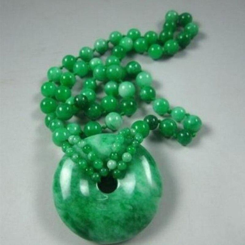 Di modo Naturale Han Giada Verde Rotonda del Branello del pendente Della Collana Fortunato Amuleto Monili Delle Donne Del Partito