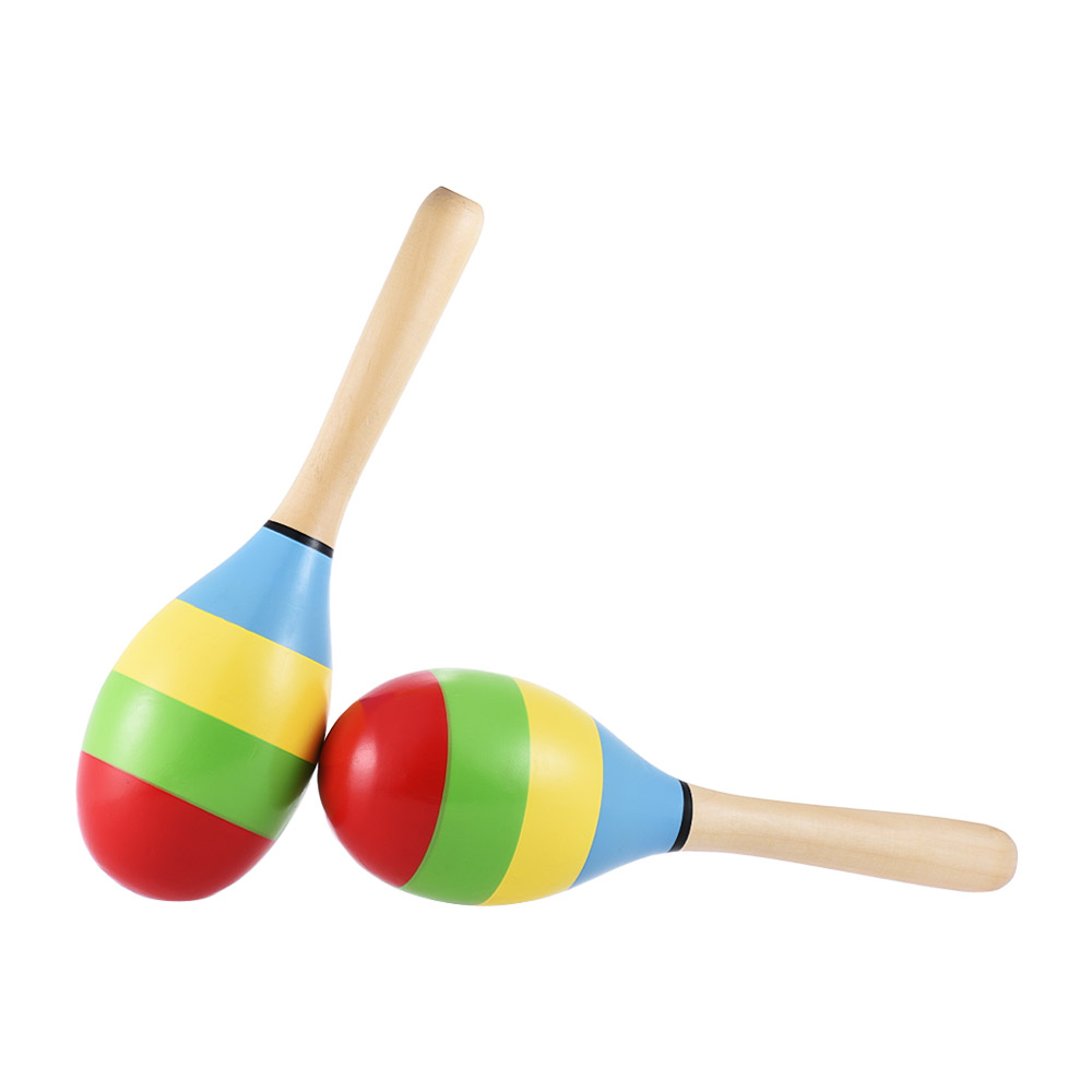 Ammoon Pair Of Wooden Maracas Rumba Shakers Rattles Sand Hammer Percussion Instrument Musical Toy For Kid Children Party Sports & Entertainment