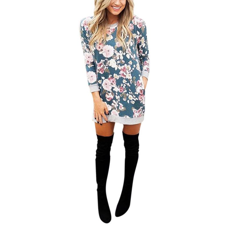 2018 Women O Neck Long Sleeve Straight Pullover Elegant Casual Print Fall Long Sweatshirts Hoodies