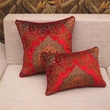 Red Jacquard Cushion Covers for sofa chair car scandinavian print cushion cover velvet throw lumbar pillowcases 40*60cm 45*45cm