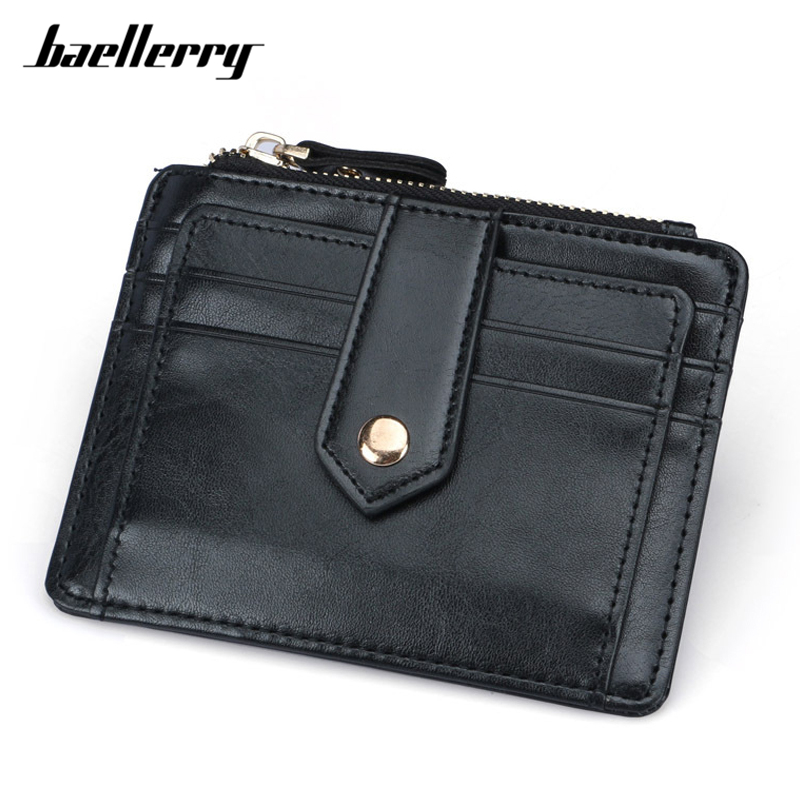Baellerry Brand Rfid Card Holder Men Wallets Hasp & Zipper Coin Pocket Male Man Credit Cards Purses Black Small Wallet ID Card 2273
