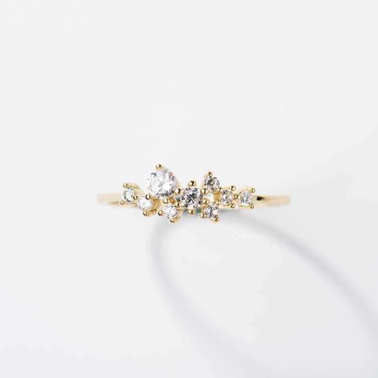 Elegan Cubic Zirconia Tipis Cincin untuk Wanita Pesona Emas Warna Rose Gold Brial Perhiasan Pesta Pernikahan Gadis Hadiah 3 warna