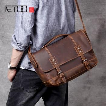 AETOO Retro Mad Horse Leather postman bag, men's head cowhide shoulder bag, handbag цена 2017