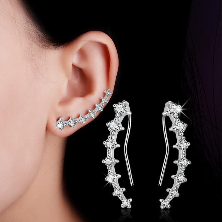 Divat fényes CZ cirkon 925 sterling ezüst női fülbevalók ékszerek nagykereskedelem csepp szállítás ajándék nők allergiaellenes olcsó