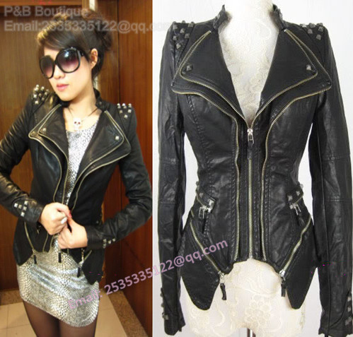 P& B 2013 New Womens Punk Spike Studded Shoulder PU Leather Jacket Zipper coat Size S-XL