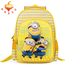 2016 high quality children's backpack Cute 6D eyes Despicable Me Minion Backpacks Child Schoolbags Kid Cartoon School bag