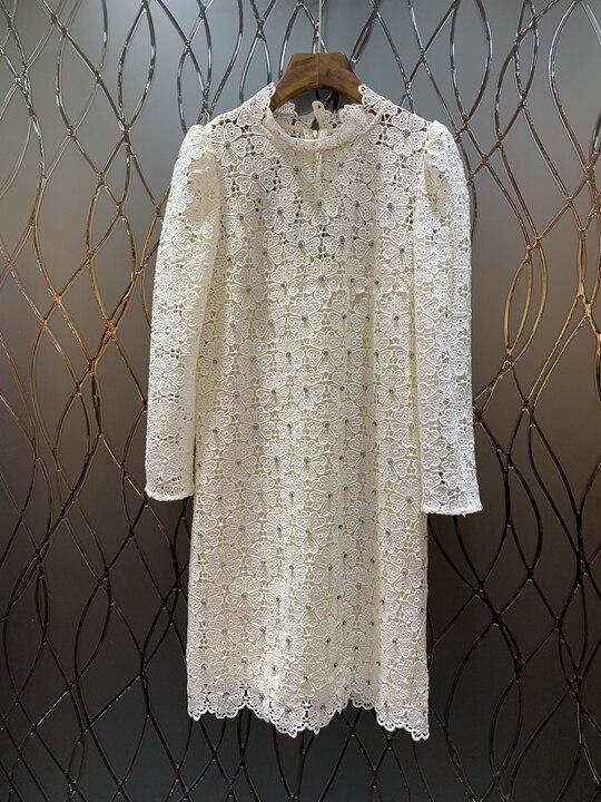 2019 春の新女性の長袖スリムネイルドリル水溶ドレス  グループ上の レディース衣服 からの ドレス の中 1