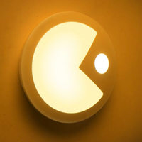 Pac Man Intelligent LED Sensing Night Light Human Body Motion Induction Lamp USB Charging Infrared Mini